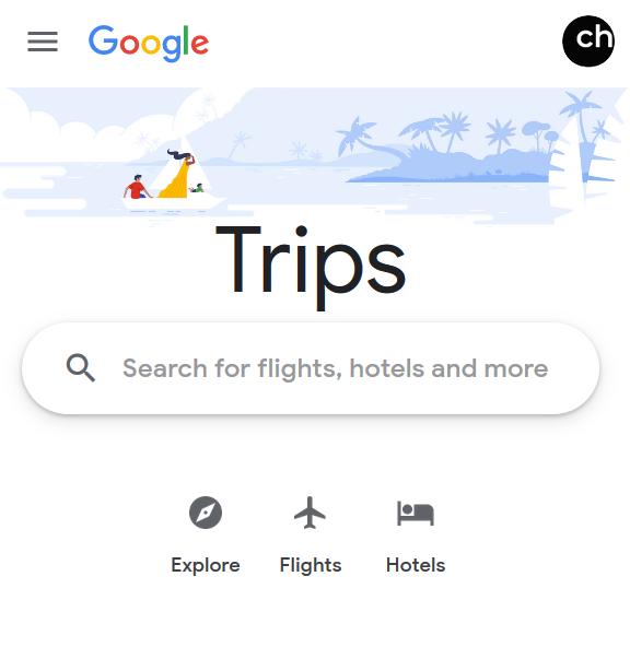 Google Travel landing page